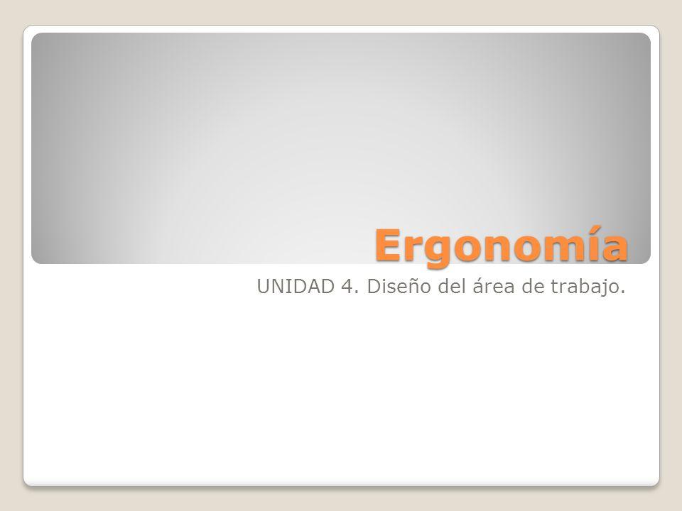 Ergonomía UNIDAD 4. Diseño del área de trabajo.