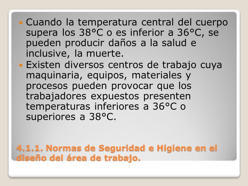 4.1.1. Normas de Seguridad e Higiene en el diseño del área de trabajo. Cuando la temperatura central del cuerpo supera los 38°C o es inferior a 36°C,