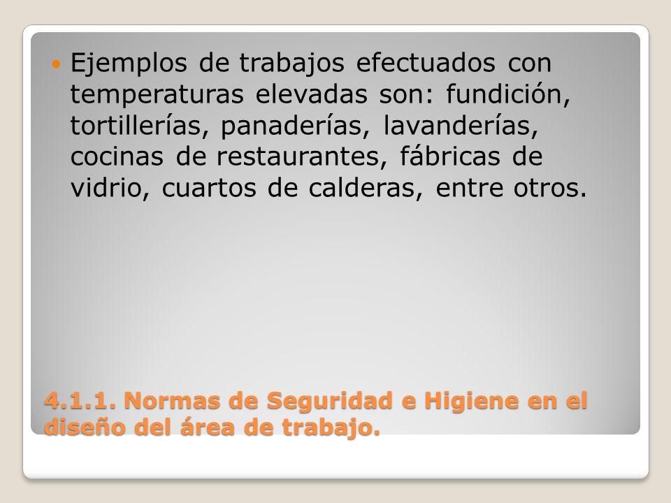 4.1.1. Normas de Seguridad e Higiene en el diseño del área de trabajo. Ejemplos de trabajos efectuados con temperaturas elevadas son: fundición, torti
