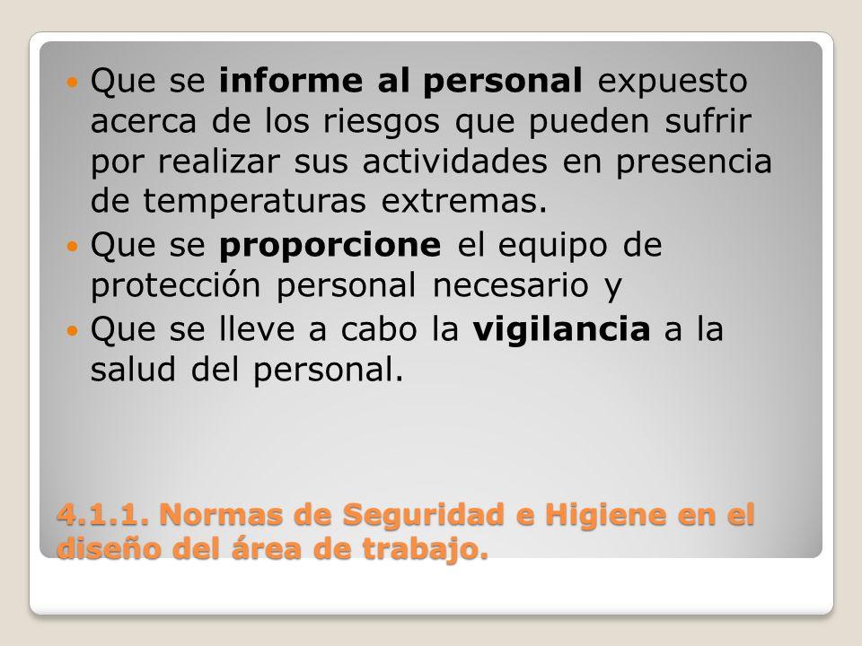 4.1.1. Normas de Seguridad e Higiene en el diseño del área de trabajo. Que se informe al personal expuesto acerca de los riesgos que pueden sufrir por