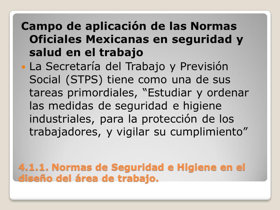 4.1.1. Normas de Seguridad e Higiene en el diseño del área de trabajo. Campo de aplicación de las Normas Oficiales Mexicanas en seguridad y salud en e