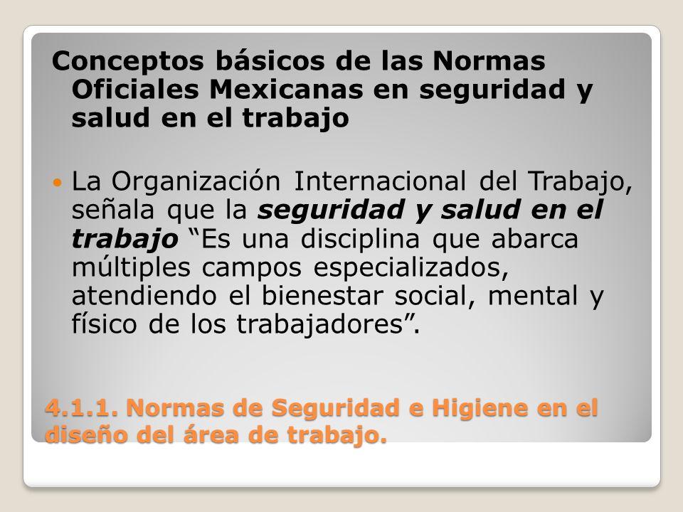 4.1.1. Normas de Seguridad e Higiene en el diseño del área de trabajo. Conceptos básicos de las Normas Oficiales Mexicanas en seguridad y salud en el