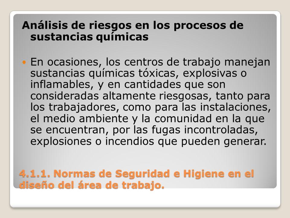 4.1.1. Normas de Seguridad e Higiene en el diseño del área de trabajo. Análisis de riesgos en los procesos de sustancias químicas En ocasiones, los ce