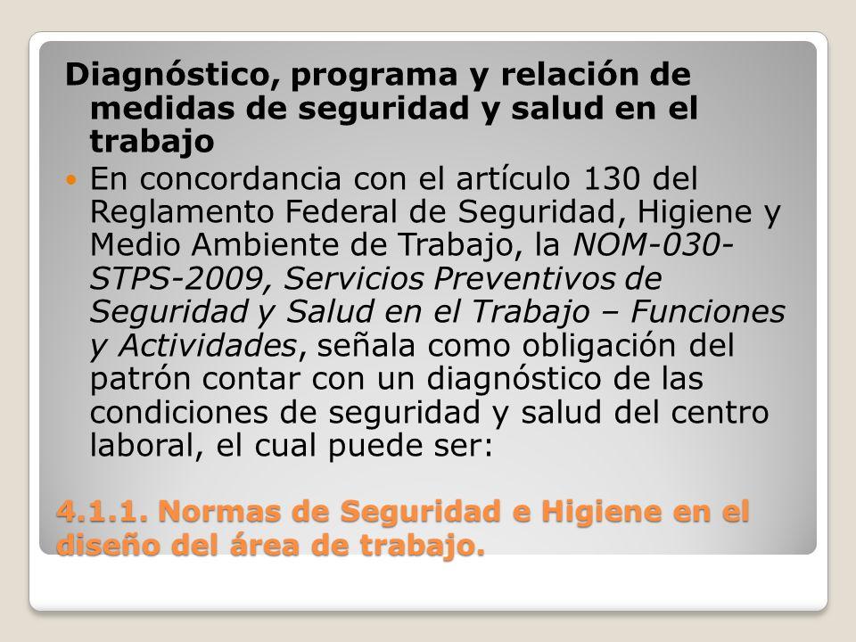 4.1.1. Normas de Seguridad e Higiene en el diseño del área de trabajo. Diagnóstico, programa y relación de medidas de seguridad y salud en el trabajo