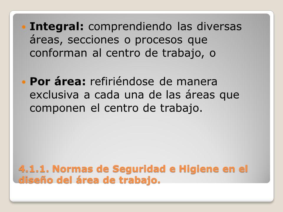 4.1.1. Normas de Seguridad e Higiene en el diseño del área de trabajo. Integral: comprendiendo las diversas áreas, secciones o procesos que conforman