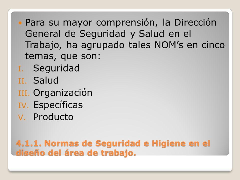 4.1.1. Normas de Seguridad e Higiene en el diseño del área de trabajo. Para su mayor comprensión, la Dirección General de Seguridad y Salud en el Trab