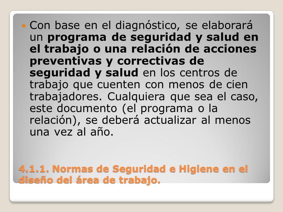 4.1.1. Normas de Seguridad e Higiene en el diseño del área de trabajo. Con base en el diagnóstico, se elaborará un programa de seguridad y salud en el