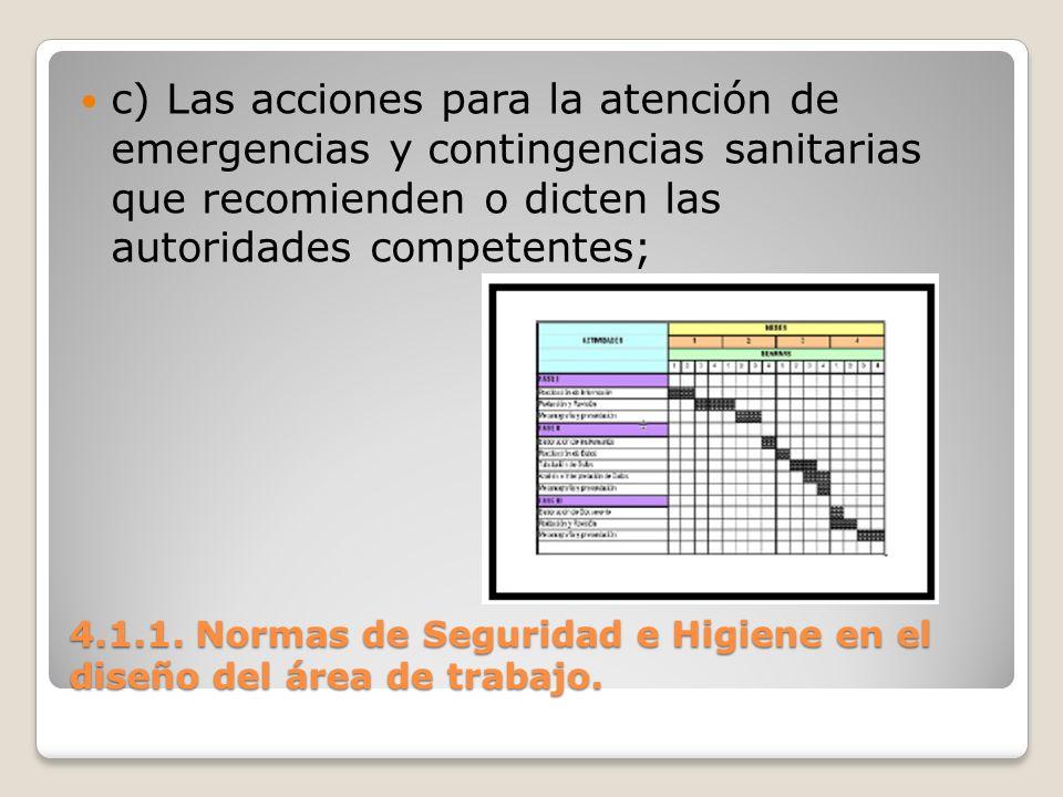 4.1.1. Normas de Seguridad e Higiene en el diseño del área de trabajo. c) Las acciones para la atención de emergencias y contingencias sanitarias que