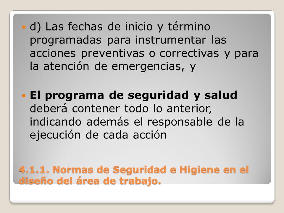 4.1.1. Normas de Seguridad e Higiene en el diseño del área de trabajo. d) Las fechas de inicio y término programadas para instrumentar las acciones pr