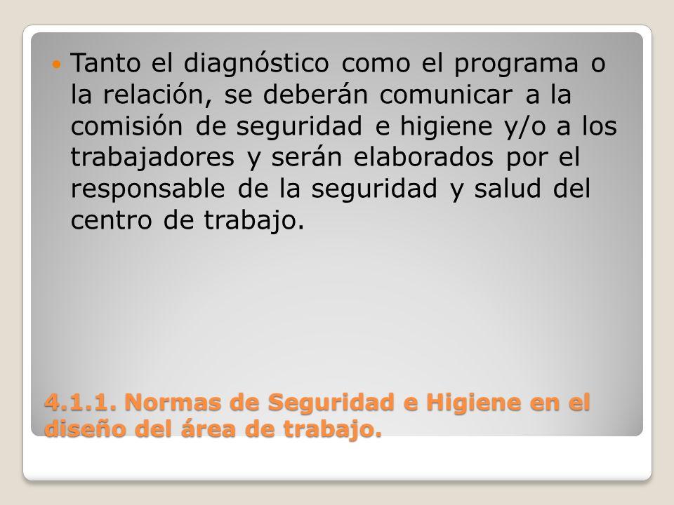 4.1.1. Normas de Seguridad e Higiene en el diseño del área de trabajo. Tanto el diagnóstico como el programa o la relación, se deberán comunicar a la