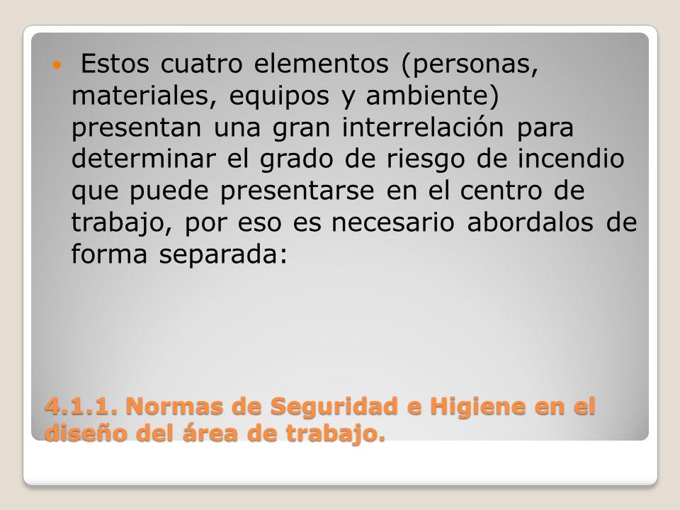 4.1.1. Normas de Seguridad e Higiene en el diseño del área de trabajo. Estos cuatro elementos (personas, materiales, equipos y ambiente) presentan una
