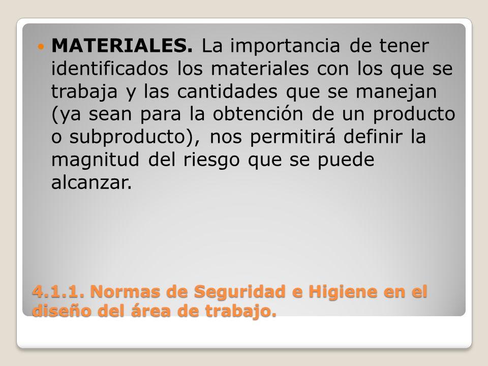 4.1.1. Normas de Seguridad e Higiene en el diseño del área de trabajo. MATERIALES. La importancia de tener identificados los materiales con los que se