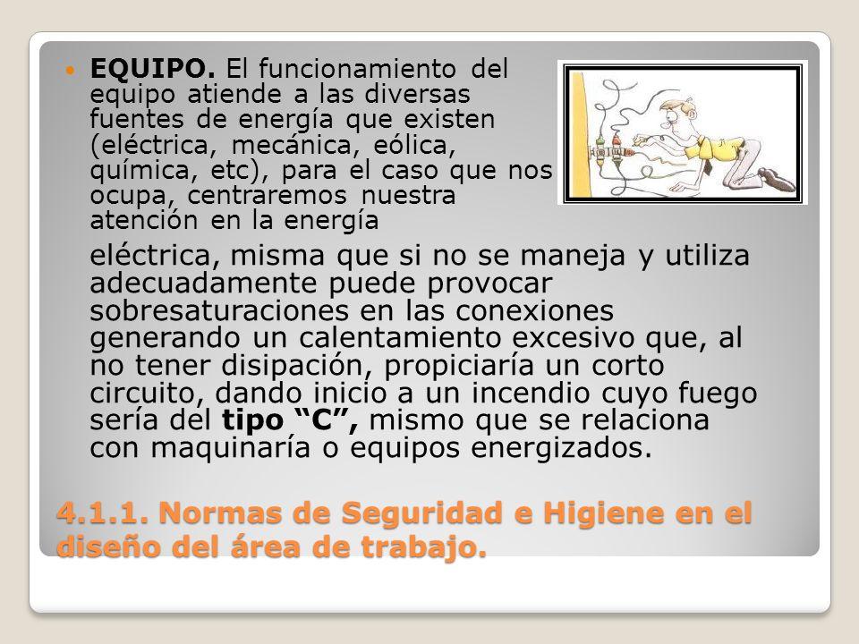 4.1.1. Normas de Seguridad e Higiene en el diseño del área de trabajo. EQUIPO. El funcionamiento del equipo atiende a las diversas fuentes de energía