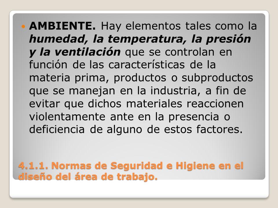 4.1.1. Normas de Seguridad e Higiene en el diseño del área de trabajo. AMBIENTE. Hay elementos tales como la humedad, la temperatura, la presión y la
