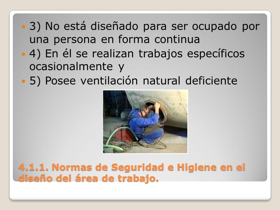 4.1.1. Normas de Seguridad e Higiene en el diseño del área de trabajo. 3) No está diseñado para ser ocupado por una persona en forma continua 4) En él