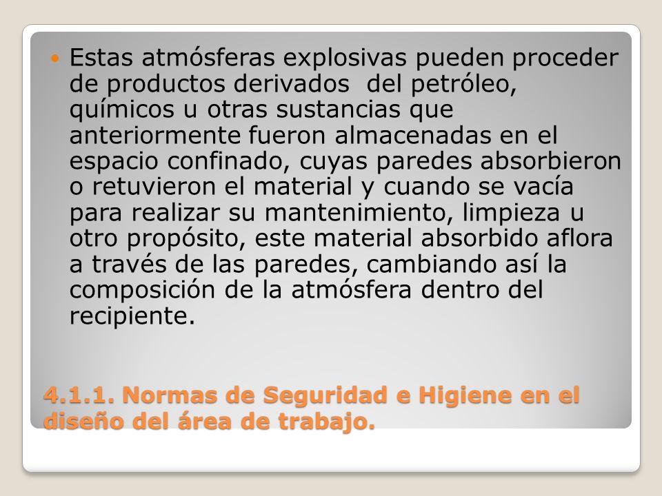 4.1.1. Normas de Seguridad e Higiene en el diseño del área de trabajo. Estas atmósferas explosivas pueden proceder de productos derivados del petróleo