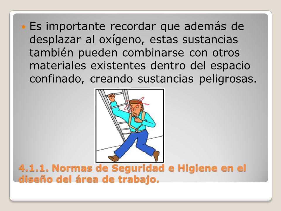 4.1.1. Normas de Seguridad e Higiene en el diseño del área de trabajo. Es importante recordar que además de desplazar al oxígeno, estas sustancias tam