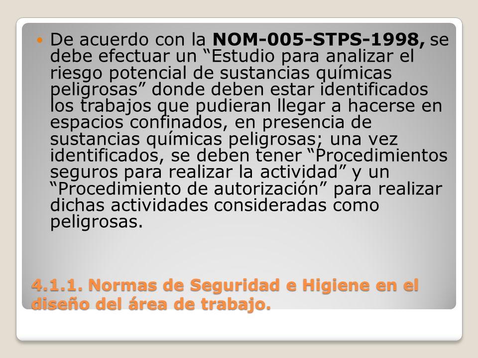 4.1.1. Normas de Seguridad e Higiene en el diseño del área de trabajo. De acuerdo con la NOM-005-STPS-1998, se debe efectuar un Estudio para analizar