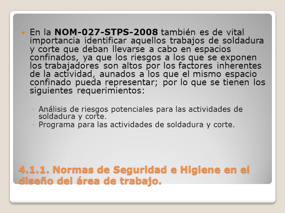 4.1.1. Normas de Seguridad e Higiene en el diseño del área de trabajo. En la NOM-027-STPS-2008 también es de vital importancia identificar aquellos tr