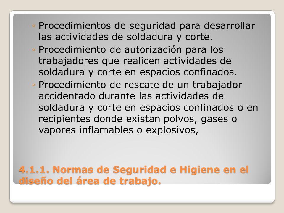 4.1.1. Normas de Seguridad e Higiene en el diseño del área de trabajo. Procedimientos de seguridad para desarrollar las actividades de soldadura y cor