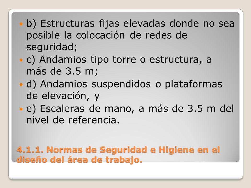 4.1.1. Normas de Seguridad e Higiene en el diseño del área de trabajo. b) Estructuras fijas elevadas donde no sea posible la colocación de redes de se