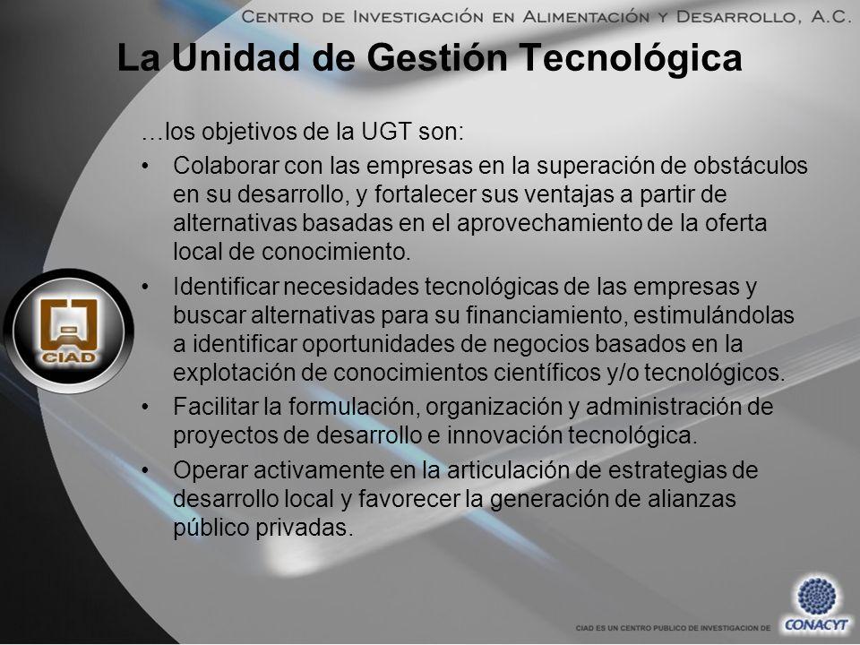 …los objetivos de la UGT son: Colaborar con las empresas en la superación de obstáculos en su desarrollo, y fortalecer sus ventajas a partir de alternativas basadas en el aprovechamiento de la oferta local de conocimiento.