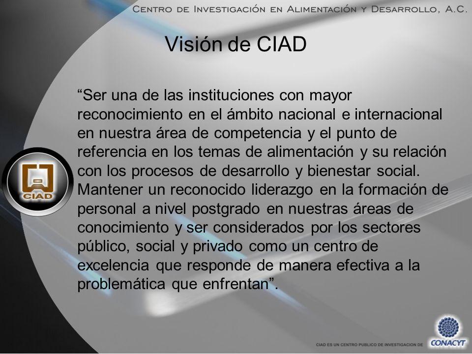 Visión de CIAD Ser una de las instituciones con mayor reconocimiento en el ámbito nacional e internacional en nuestra área de competencia y el punto de referencia en los temas de alimentación y su relación con los procesos de desarrollo y bienestar social.