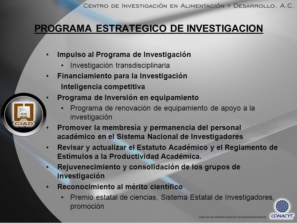 PROGRAMA ESTRATEGICO DE INVESTIGACION Impulso al Programa de Investigación Investigación transdisciplinaria Financiamiento para la Investigación Intel