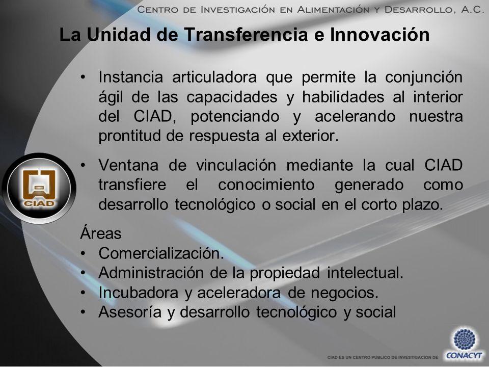 La Unidad de Transferencia e Innovación Instancia articuladora que permite la conjunción ágil de las capacidades y habilidades al interior del CIAD, potenciando y acelerando nuestra prontitud de respuesta al exterior.