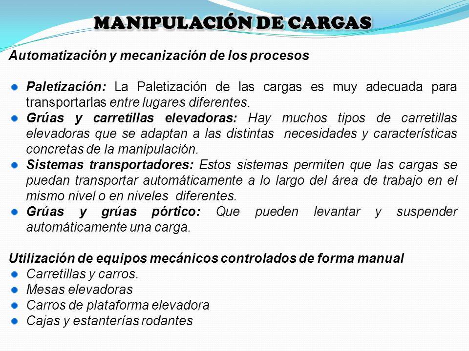 Automatización y mecanización de los procesos Paletización: La Paletización de las cargas es muy adecuada para transportarlas entre lugares diferentes