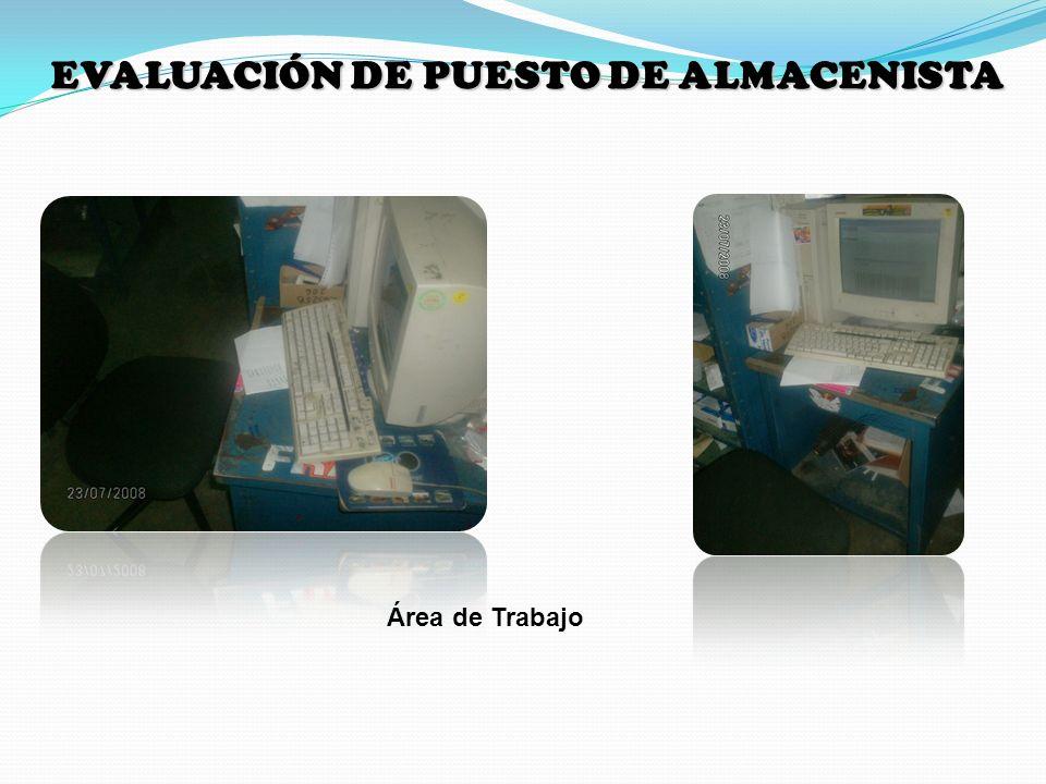 Área de Trabajo EVALUACIÓN DE PUESTO DE ALMACENISTA