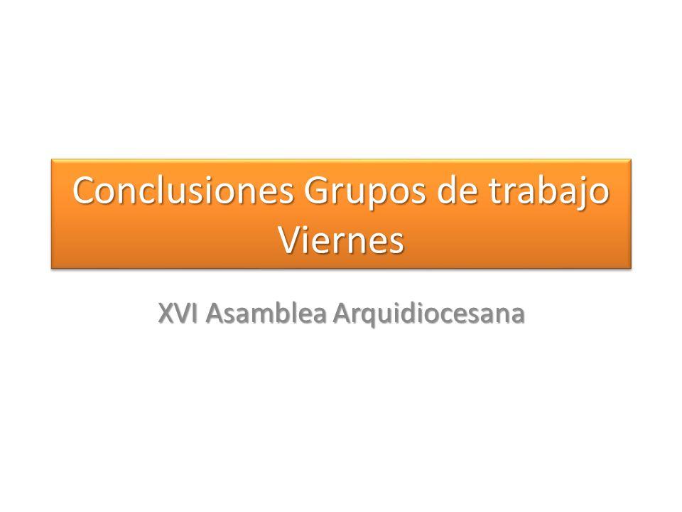 Conclusiones Grupos de trabajo Viernes XVI Asamblea Arquidiocesana
