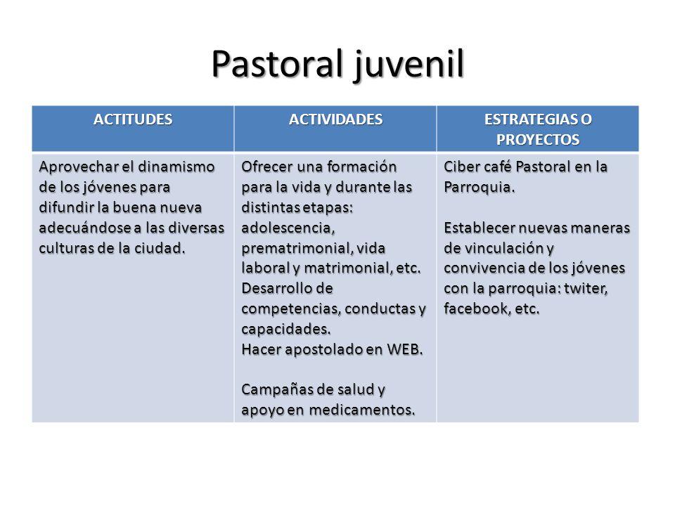 Pastoral juvenil ACTITUDESACTIVIDADES ESTRATEGIAS O PROYECTOS Aprovechar el dinamismo de los jóvenes para difundir la buena nueva adecuándose a las di