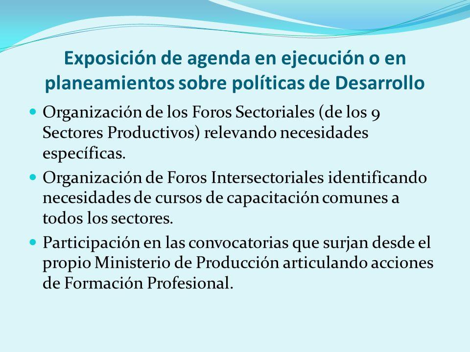 Exposición de agenda en ejecución o en planeamientos sobre políticas de Desarrollo Organización de los Foros Sectoriales (de los 9 Sectores Productivos) relevando necesidades específicas.