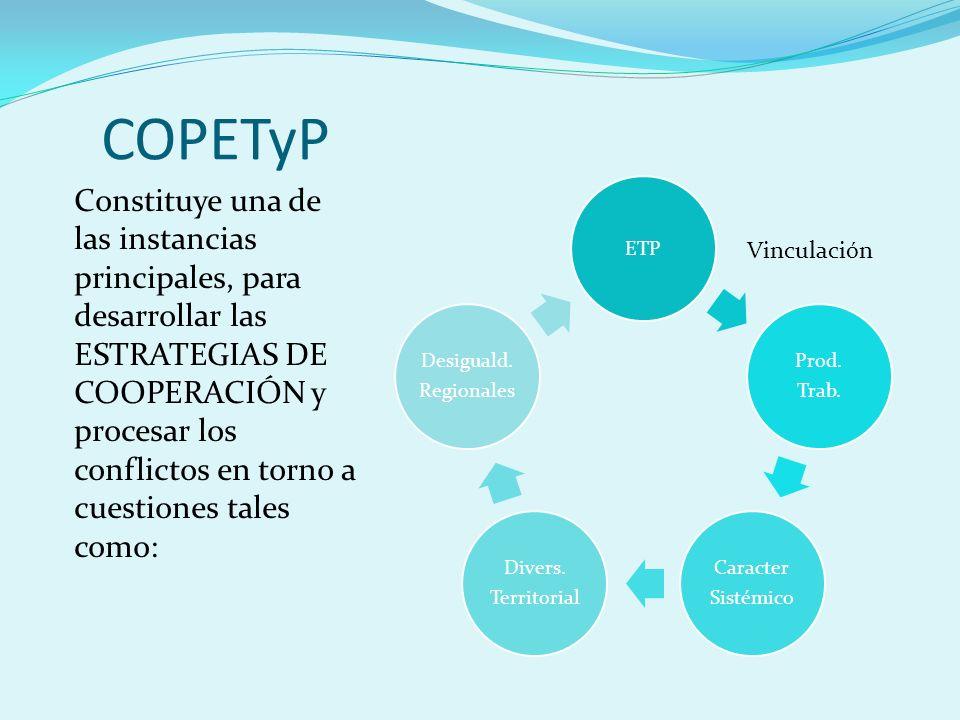 COPETyP Constituye una de las instancias principales, para desarrollar las ESTRATEGIAS DE COOPERACIÓN y procesar los conflictos en torno a cuestiones tales como: ETP Prod.