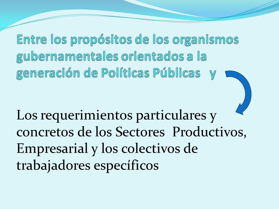 Los requerimientos particulares y concretos de los Sectores Productivos, Empresarial y los colectivos de trabajadores específicos