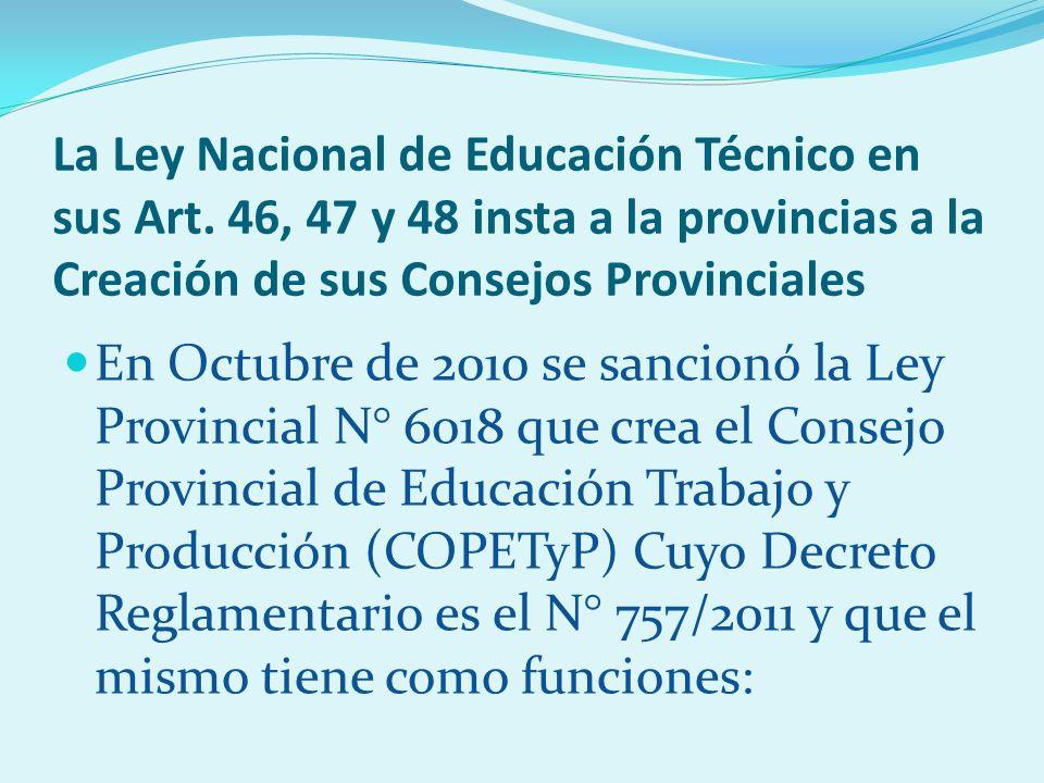 La Ley Nacional de Educación Técnico en sus Art.