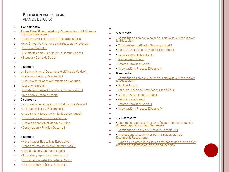 E DUCACIÓN PREESCOLAR PLAN DE ESTUDIOS 1 er semestre Bases Filosóficas, Legales y Organizativas del Sistema Educativo Mexicano Bases Filosóficas, Lega