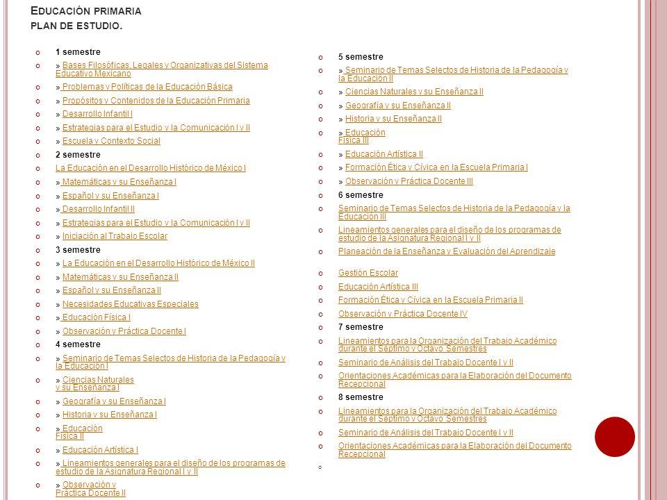 E DUCACIÓN PRIMARIA PLAN DE ESTUDIO. 1 semestre » Bases Filosóficas, Legales y Organizativas del Sistema Educativo MexicanoBases Filosóficas, Legales