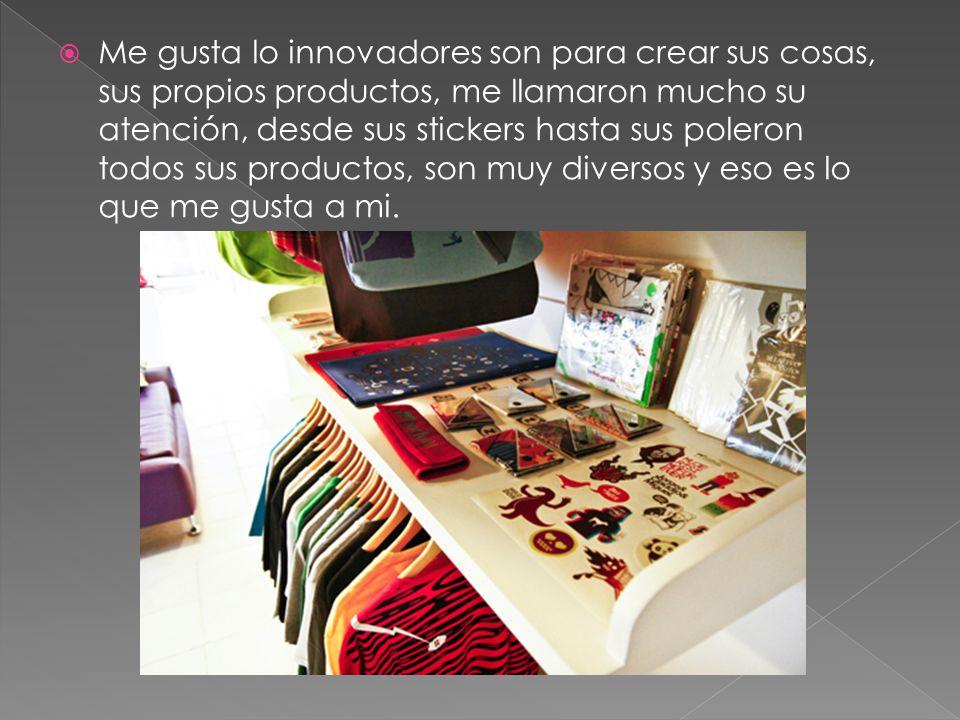 Me gusta lo innovadores son para crear sus cosas, sus propios productos, me llamaron mucho su atención, desde sus stickers hasta sus poleron todos sus productos, son muy diversos y eso es lo que me gusta a mi.