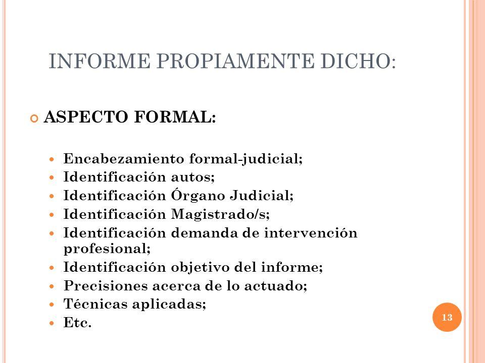 INFORME PROPIAMENTE DICHO: ASPECTO FORMAL: Encabezamiento formal-judicial; Identificación autos; Identificación Órgano Judicial; Identificación Magist