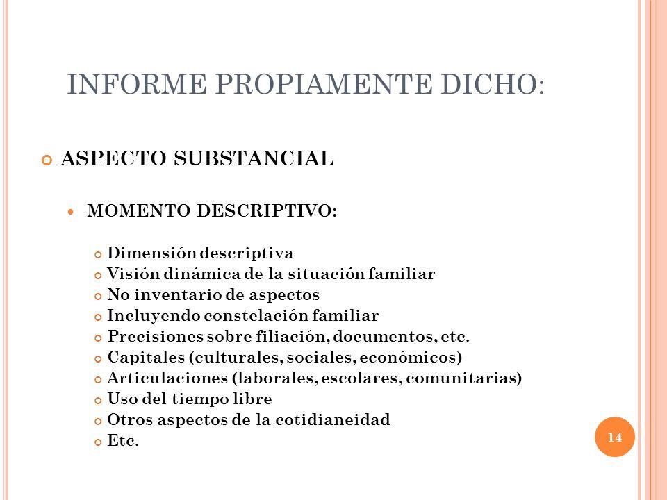 INFORME PROPIAMENTE DICHO: ASPECTO SUBSTANCIAL MOMENTO DESCRIPTIVO: Dimensión descriptiva Visión dinámica de la situación familiar No inventario de as