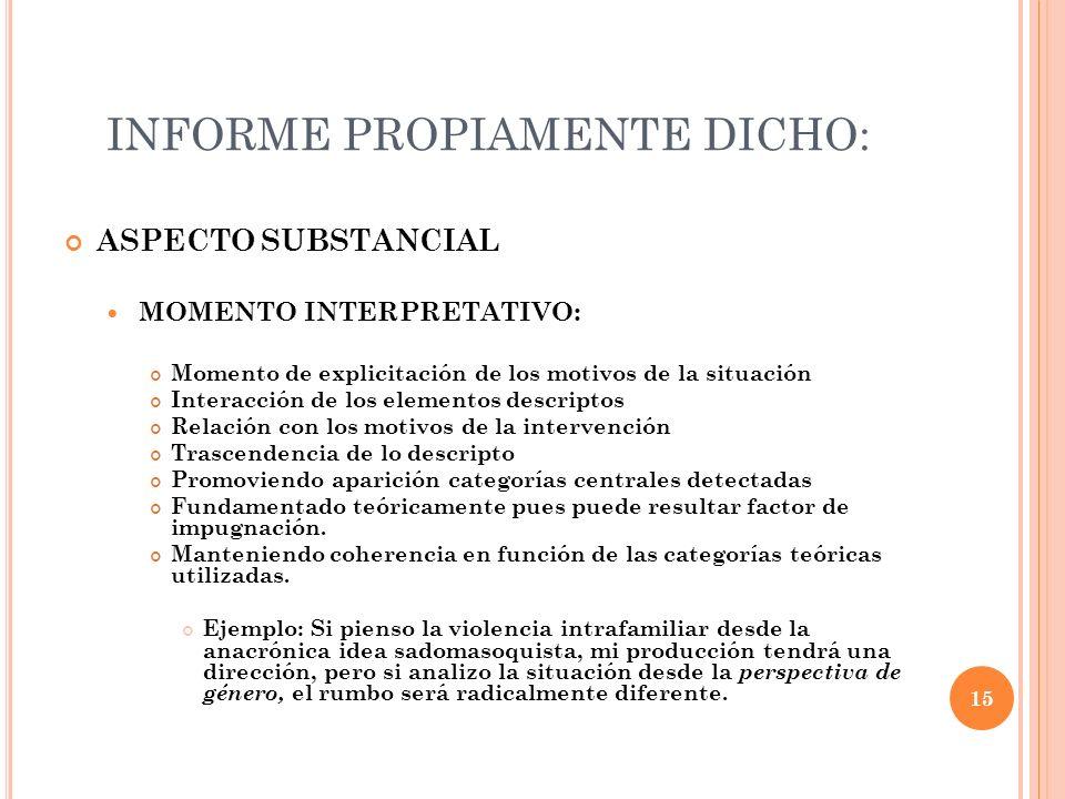 INFORME PROPIAMENTE DICHO: ASPECTO SUBSTANCIAL MOMENTO INTERPRETATIVO: Momento de explicitación de los motivos de la situación Interacción de los elem