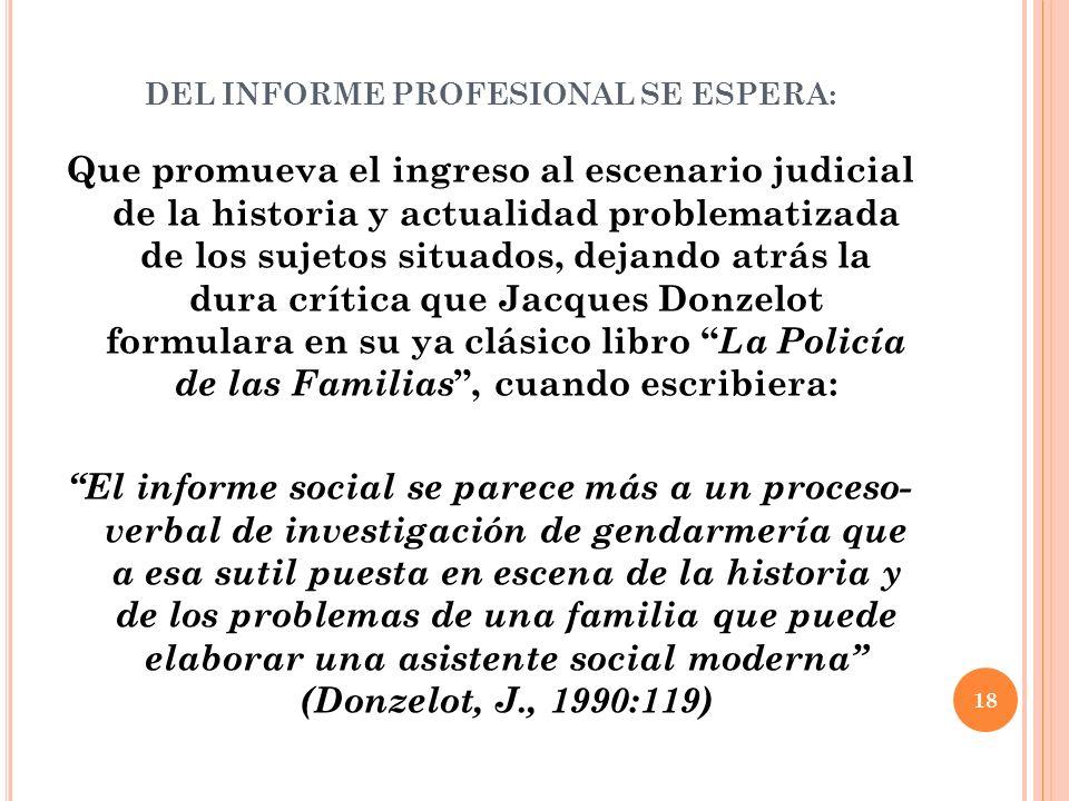 DEL INFORME PROFESIONAL SE ESPERA: Que promueva el ingreso al escenario judicial de la historia y actualidad problematizada de los sujetos situados, d