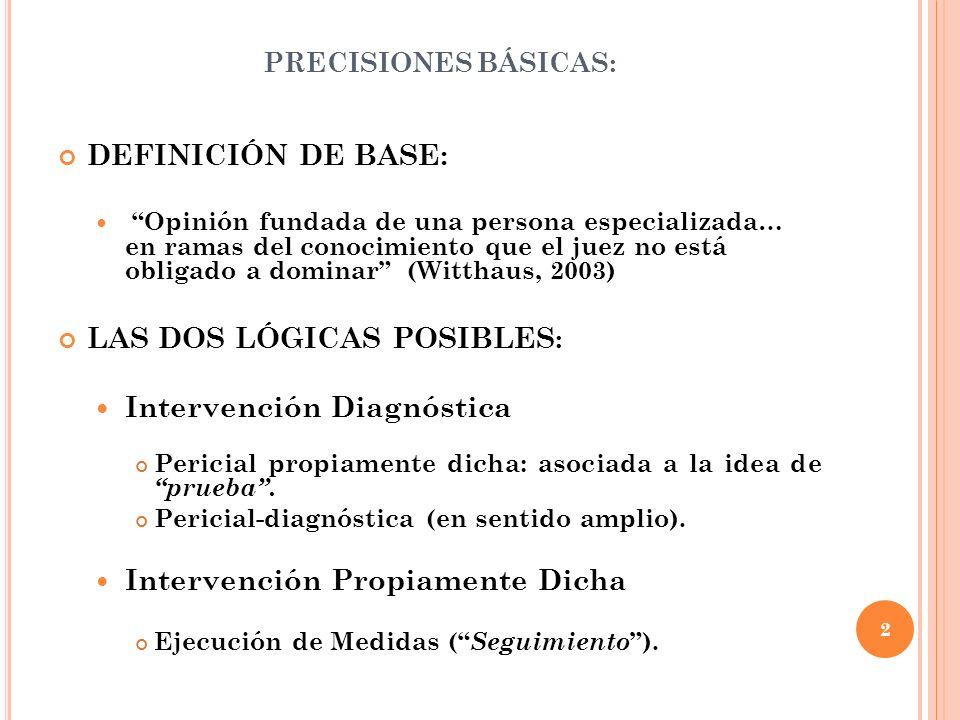 PRECISIONES BÁSICAS: DEFINICIÓN DE BASE: Opinión fundada de una persona especializada… en ramas del conocimiento que el juez no está obligado a domina