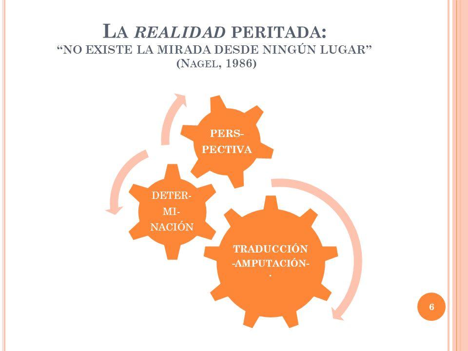 L A REALIDAD PERITADA : NO EXISTE LA MIRADA DESDE NINGÚN LUGAR (N AGEL, 1986) TRADUCCIÓN -AMPUTACIÓN-. DETER- MI- NACIÓN PERS- PECTIVA 6