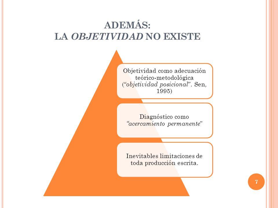 ADEMÁS: LA OBJETIVIDAD NO EXISTE Objetividad como adecuación teórico-metodológica ( objetividad posicional. Sen, 1995) Diagnóstico como acercamiento p