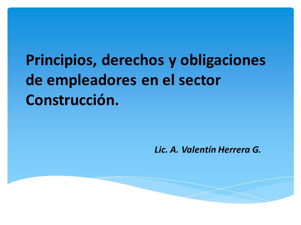 Principios, derechos y obligaciones de empleadores en el sector Construcción. Lic. A. Valentín Herrera G.