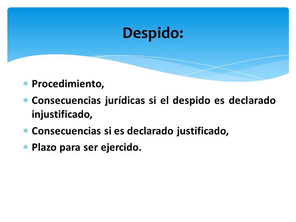 Procedimiento, Consecuencias jurídicas si el despido es declarado injustificado, Consecuencias si es declarado justificado, Plazo para ser ejercido. D