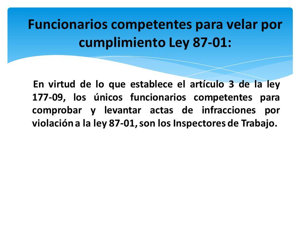 En virtud de lo que establece el artículo 3 de la ley 177-09, los únicos funcionarios competentes para comprobar y levantar actas de infracciones por